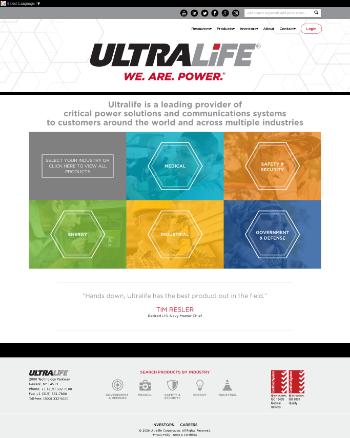Ultralife Corporation Website Screenshot