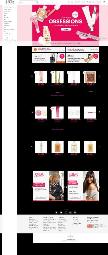 Ulta Beauty, Inc. Website Screenshot