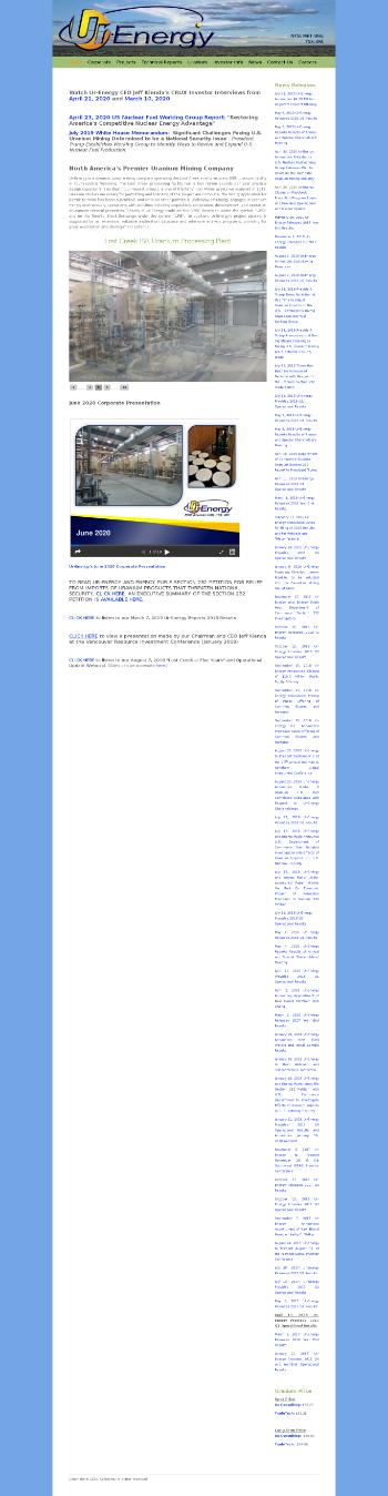 Ur-Energy Inc. Website Screenshot