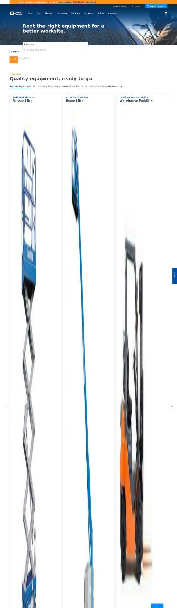 United Rentals, Inc. Website Screenshot
