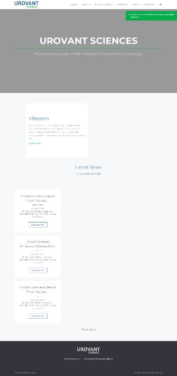Urovant Sciences Ltd. Website Screenshot