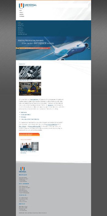Universal Stainless & Alloy Products, Inc. Website Screenshot