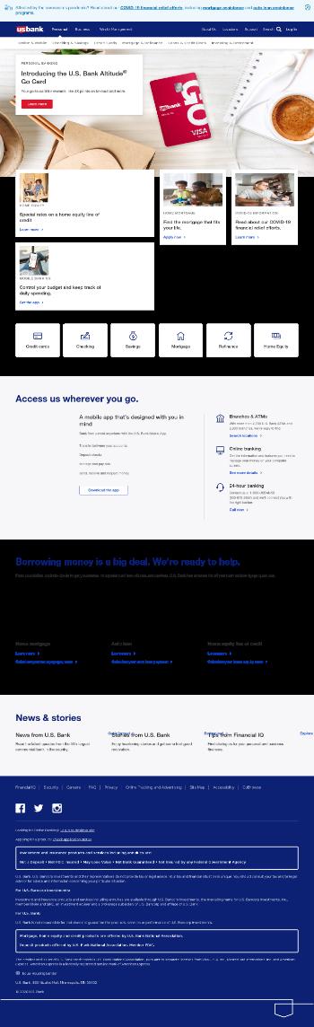 U.S. Bancorp Website Screenshot