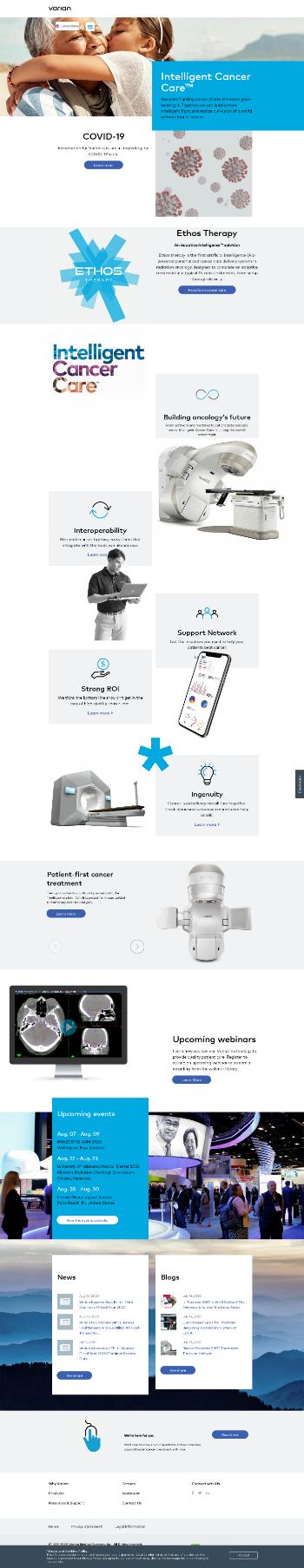 Varian Medical Systems, Inc. Website Screenshot