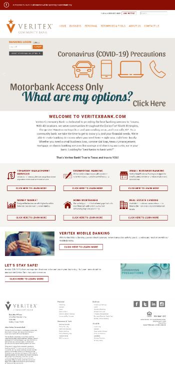 Veritex Holdings, Inc. Website Screenshot