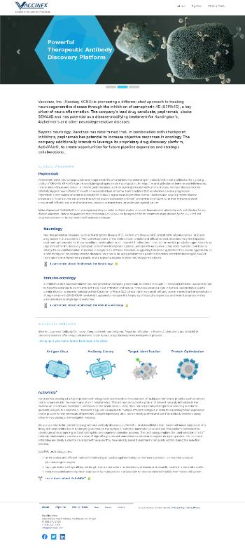 Vaccinex, Inc. Website Screenshot