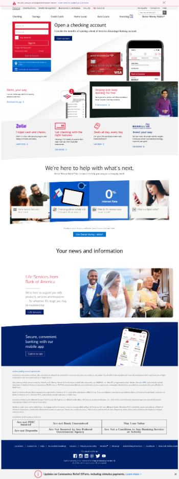 Bank of America Corporation Website Screenshot
