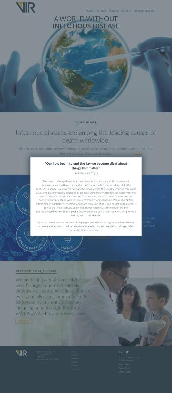 Vir Biotechnology, Inc. Website Screenshot