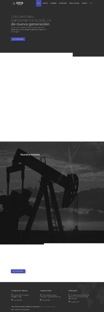 Vista Oil & Gas, S.A.B. de C.V. Website Screenshot