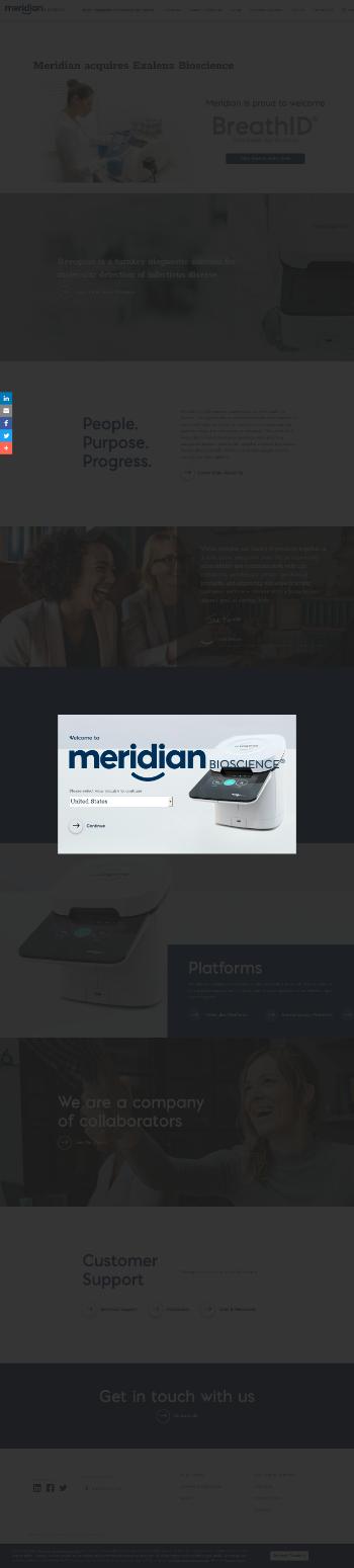 Meridian Bioscience, Inc. Website Screenshot