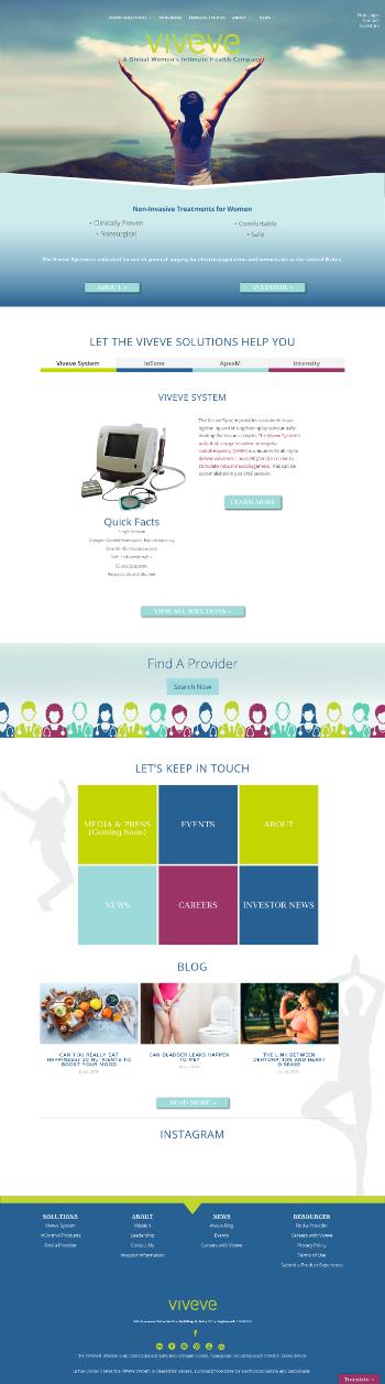 Viveve Medical, Inc. Website Screenshot