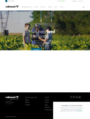 Valmont Industries, Inc. Website Screenshot