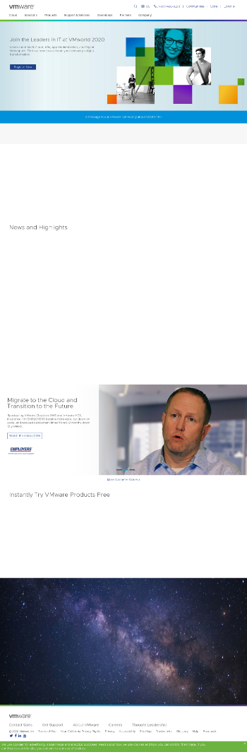VMware, Inc. Website Screenshot
