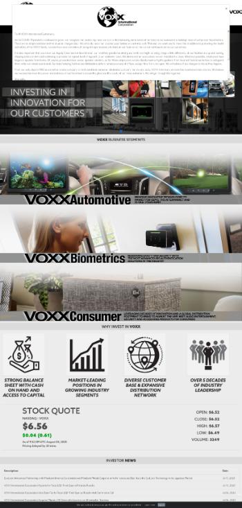 VOXX International Corporation Website Screenshot