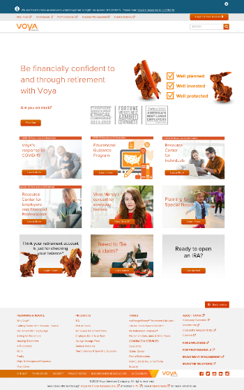 Voya Financial, Inc. Website Screenshot