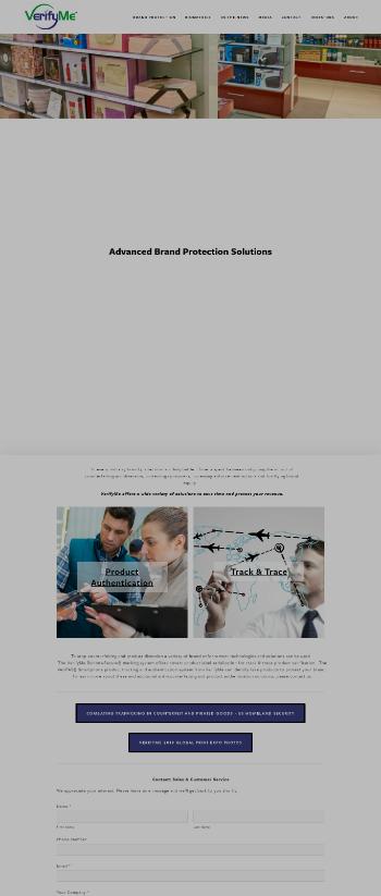 VerifyMe, Inc. Website Screenshot