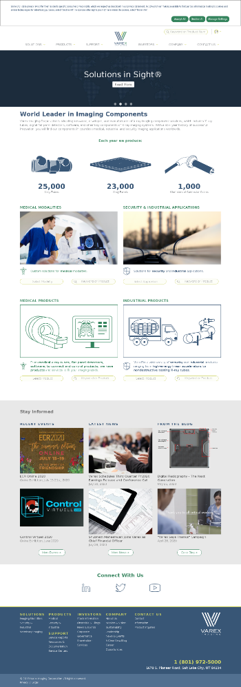 Varex Imaging Corporation Website Screenshot