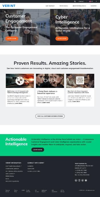 Verint Systems Inc. Website Screenshot