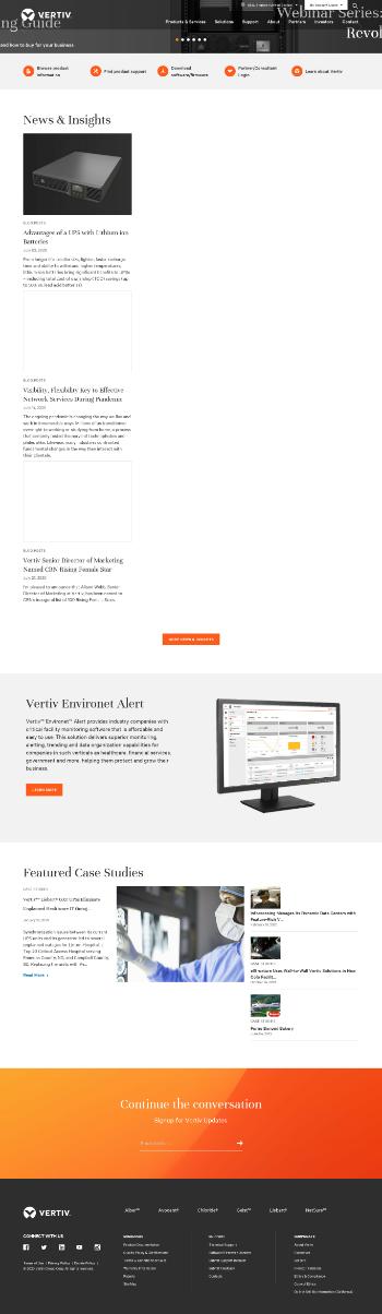 Vertiv Holdings Co. Website Screenshot