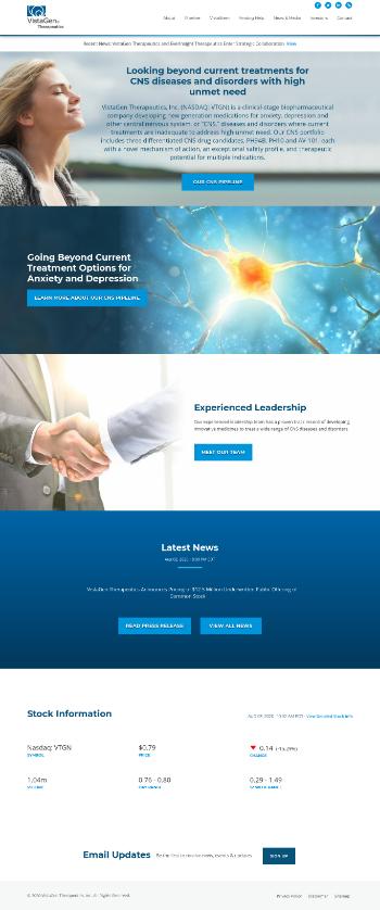 VistaGen Therapeutics, Inc. Website Screenshot