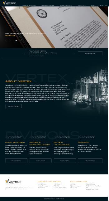 Vertex Energy, Inc. Website Screenshot