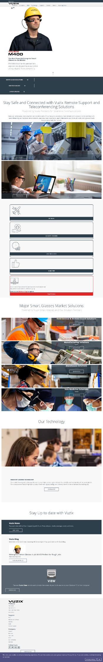 Vuzix Corporation Website Screenshot