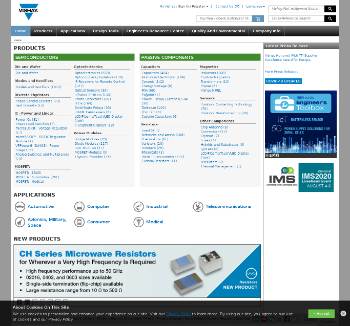 Vishay Intertechnology, Inc. Website Screenshot