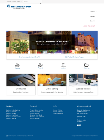 Westamerica Bancorporation Website Screenshot