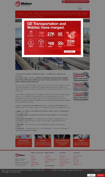 Wabtec Corporation Website Screenshot