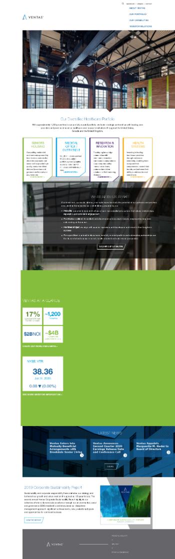 Ventas, Inc. Website Screenshot
