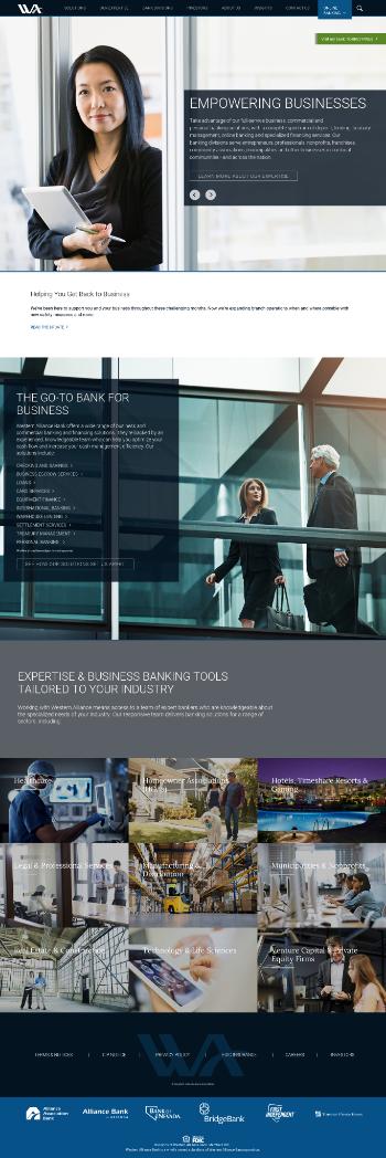 Western Alliance Bancorporation Website Screenshot