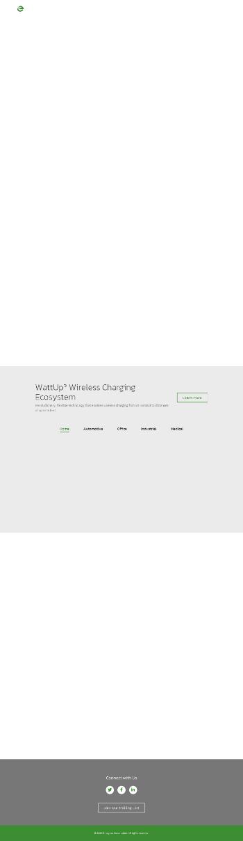 Energous Corporation Website Screenshot