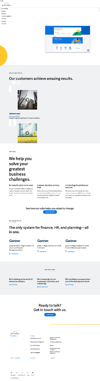 Workday, Inc. Website Screenshot