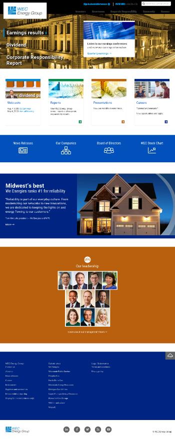 WEC Energy Group, Inc. Website Screenshot
