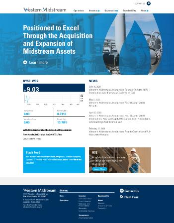 Western Midstream Partners, LP Website Screenshot