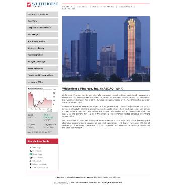 WhiteHorse Finance, Inc. Website Screenshot
