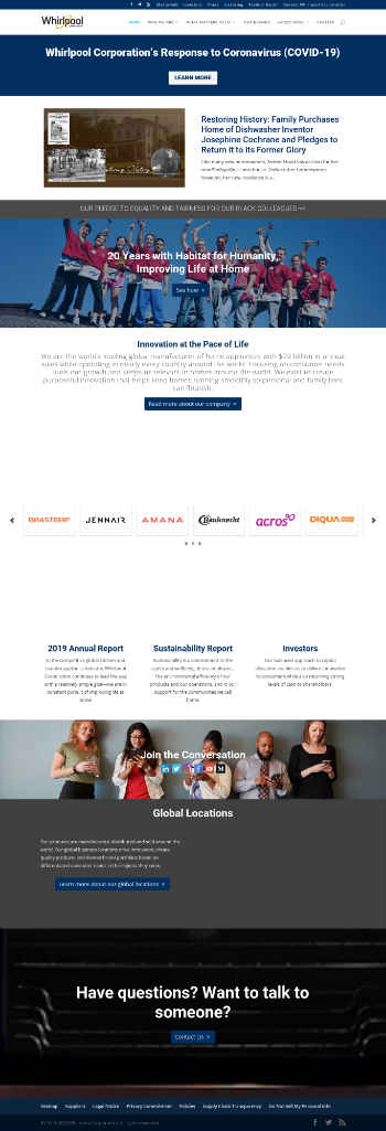 Whirlpool Corporation Website Screenshot