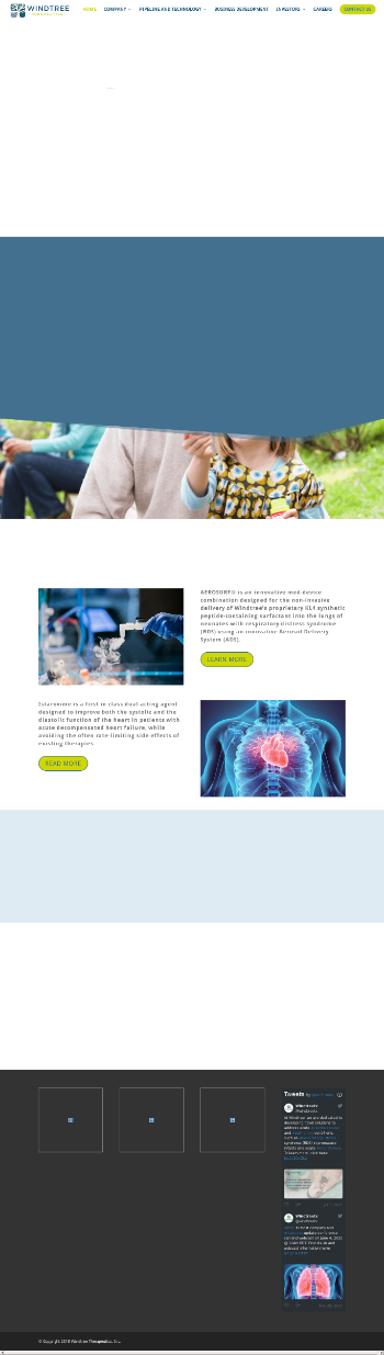 Windtree Therapeutics, Inc. Website Screenshot