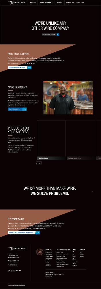 Encore Wire Corporation Website Screenshot