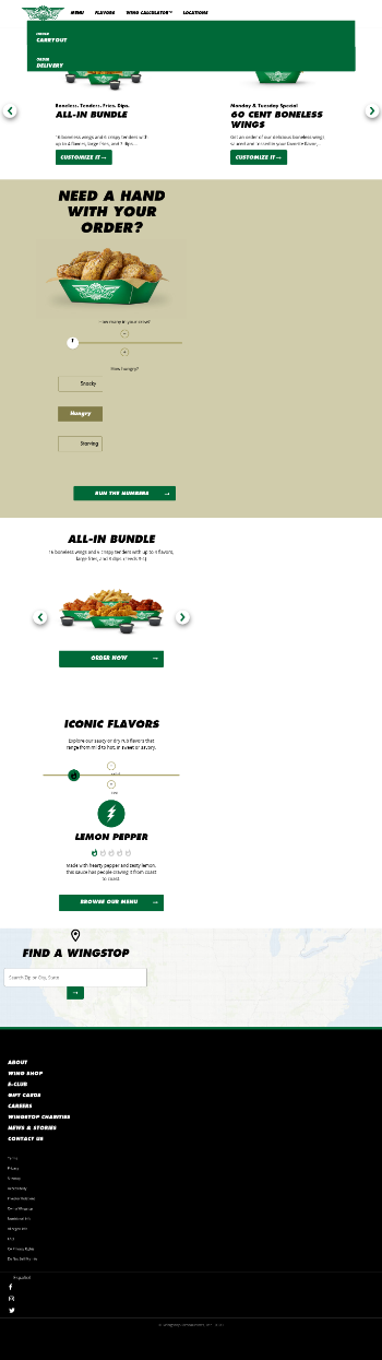 Wingstop Inc. Website Screenshot