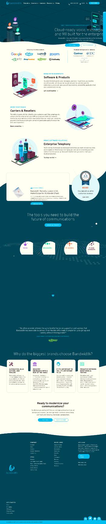 Bandwidth Inc. Website Screenshot
