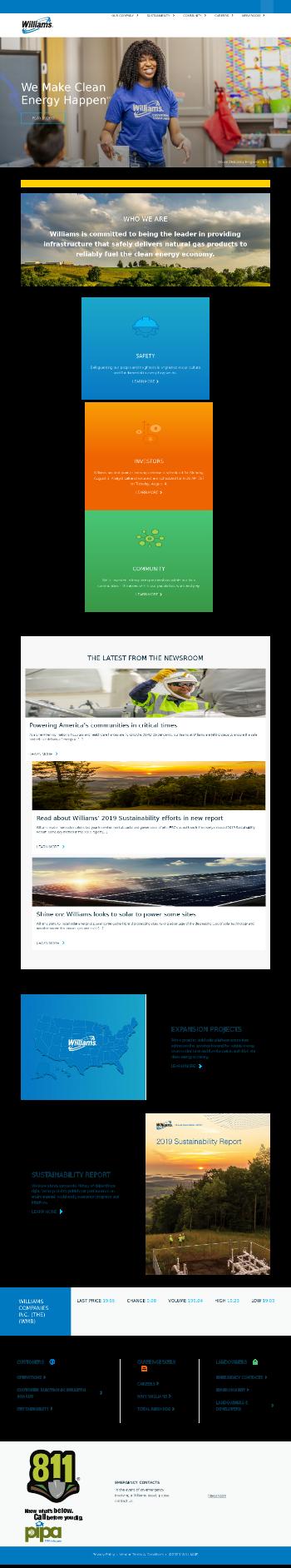 The Williams Companies, Inc. Website Screenshot