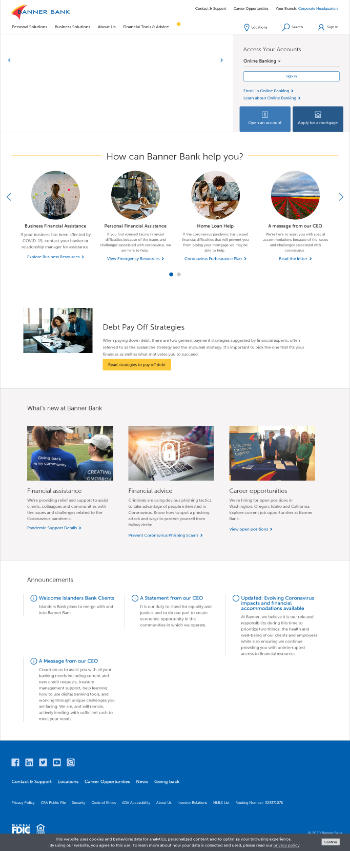 Banner Corporation Website Screenshot