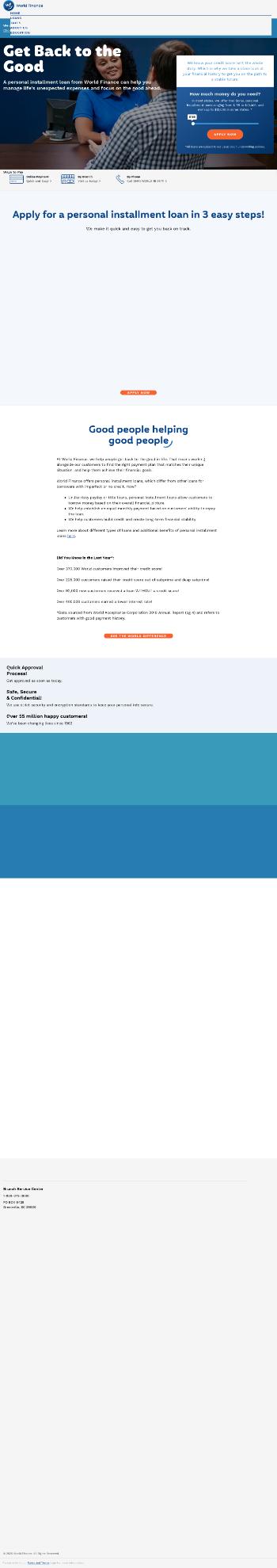 World Acceptance Corporation Website Screenshot