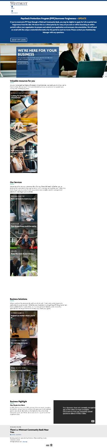 Wintrust Financial Corporation Website Screenshot