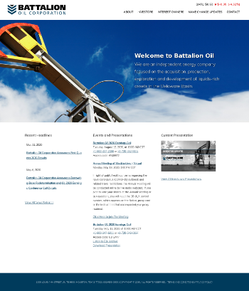 Battalion Oil Corporation Website Screenshot