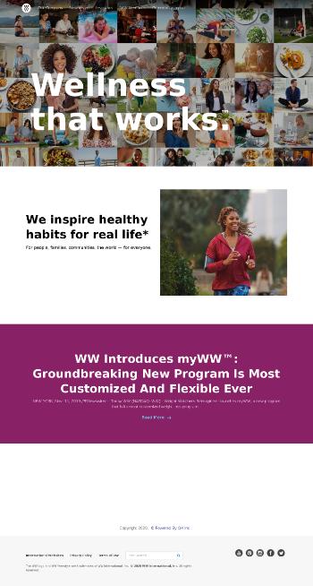 WW International, Inc. Website Screenshot