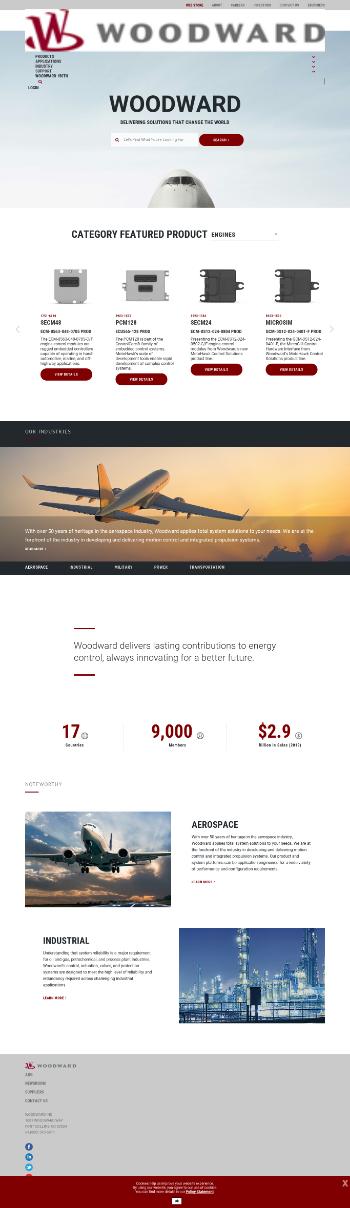 Woodward, Inc. Website Screenshot