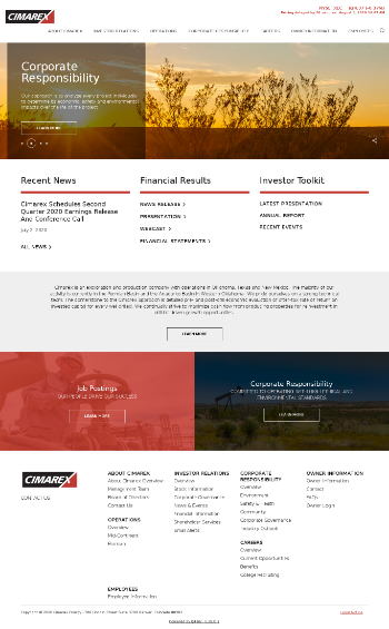 Cimarex Energy Co. Website Screenshot