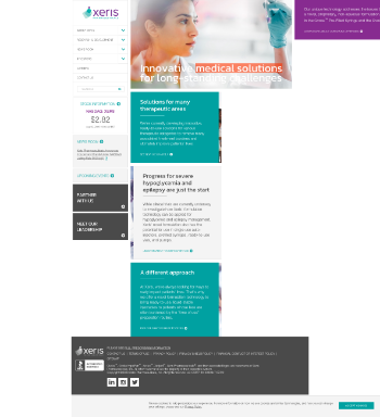 Xeris Pharmaceuticals, Inc. Website Screenshot